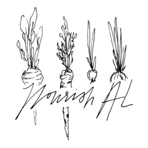 Drawing of four carrots with Nourish AL overlaid